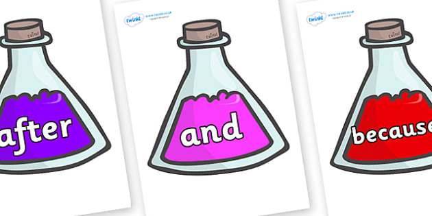 Connectives on Potions - Connectives, VCOP, connective resources, connectives display words, connective displays