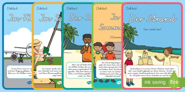 Diktate für 2. Klasse Thema Sommer Arbeitsblatt - Deutsch, eu