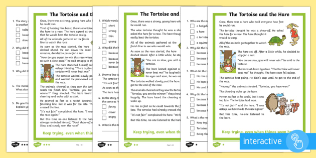 The Tortoise and the Hare Differentiated Comprehension Worksheet