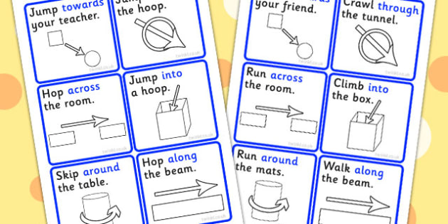 Instructions With Directional Prepositions - directions, position, prepositions