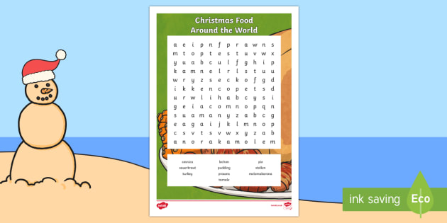Christmas Food Around the World Word Search - australia, christmas, food, around the world, world, celebrate, eating, eat, word search, activity