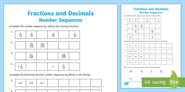 fractions and decimals sequences worksheet worksheet fraction decimal. Black Bedroom Furniture Sets. Home Design Ideas