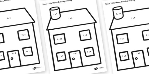 7 Times Table Active Picture Building Activity House - times table, times tables