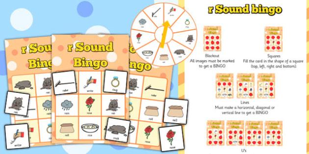 r Sound Bingo Game with Spinner - r, sound, sounds, bingo, game