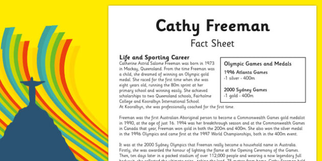 Australian Olympic Athletes Fact Sheet Cathy Freeman - Australia, Olympic Games, Olympics, Paralympics, Athletes, Information, Fact Sheet, Reading Comprehension, Year 6 History