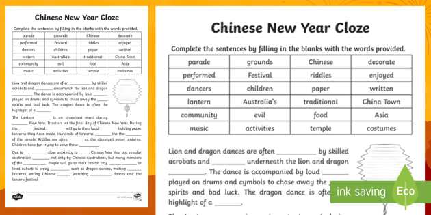 chinese new year cloze worksheet china celebration festival lantern. Black Bedroom Furniture Sets. Home Design Ideas