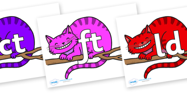 Final Letter Blends on Cheshire Cats - Final Letters, final letter, letter blend, letter blends, consonant, consonants, digraph, trigraph, literacy, alphabet, letters, foundation stage literacy