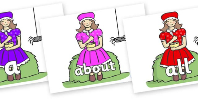 100 High Frequency Words on Little Miss Muffet - High frequency words, hfw, DfES Letters and Sounds, Letters and Sounds, display words