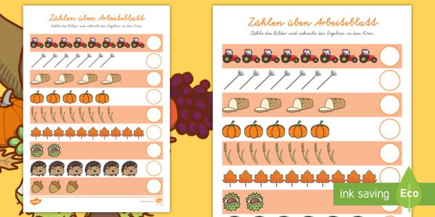 Herbst zählen üben Arbeitsblatt - Zahlen, Rechnen, herbstlich