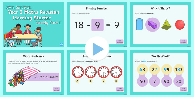 SATS Survival: Year 2 Maths Revision Morning Starter PowerPoint