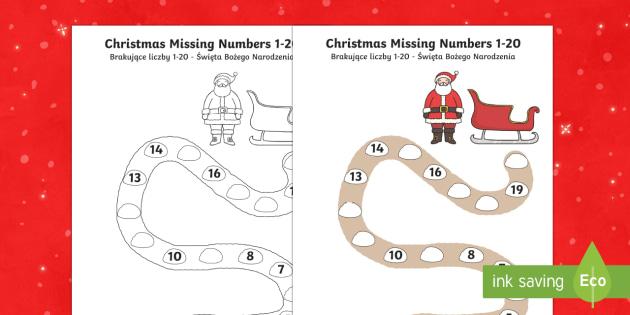 Christmas Path Missing Numbers to 20 Activity Sheet English/Polish - Christmas, Nativity, Jesus, xmas, Xmas, Father Christmas, Santa,Polish-translation