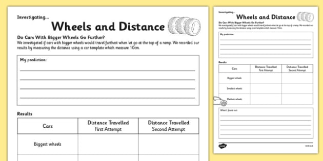 KS1 Maths Wheels and Distance Investigation Activity Sheet, worksheet