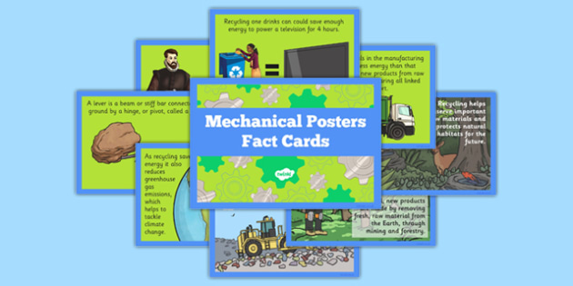 Mechanical Posters Fact Cards - Go Green, Eco, recycle, warrior, environment