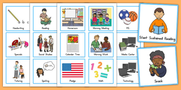 Visual Schedule Cards - usa, america, Schedule, Classroom Organization, Daily Routine, EC, ESL