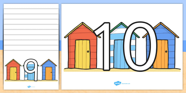 Numbers 0 10 on Beach Huts - count, seaside, holiday, summer