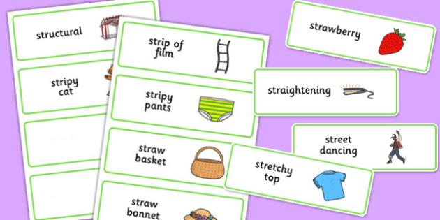 Three Syllable STR Word Cards - sen, sound, str sound, str, three syllable, word cards