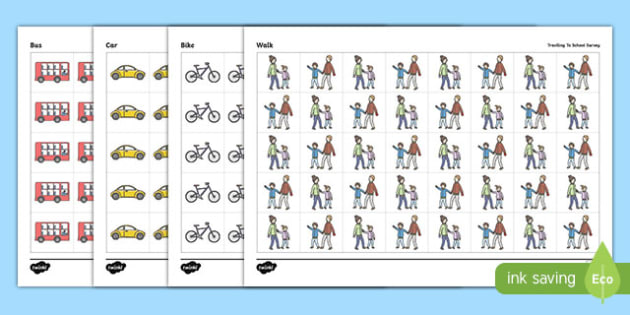 Travelling To School Pictogram For Survey - travelling to school, pictogram, survey, how do you travel to school, counting, pictogram, counting cars, how many cars, chart, addition, school, cars, bus, walking