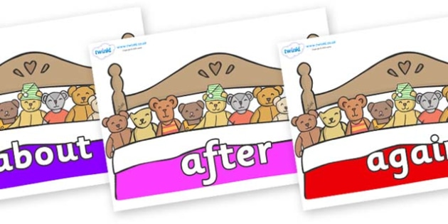 KS1 Keywords on Ten in a Bed - KS1, CLL, Communication language and literacy, Display, Key words, high frequency words, foundation stage literacy, DfES Letters and Sounds, Letters and Sounds, spelling