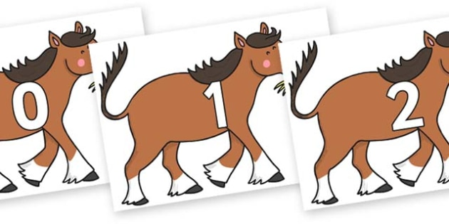 Numbers 0-31 on Hullabaloo Carthorse to Support Teaching on Farmyard Hullabaloo - 0-31, foundation stage numeracy, Number recognition, Number flashcards, counting, number frieze, Display numbers, number posters