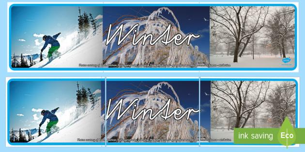 Winter Banner für die Klassenraumgestaltung - Winter Banner für die Klassenraumgestaltung, Winter, Winterzeit, Jahreszeiten, Snowboarding, Snowbo