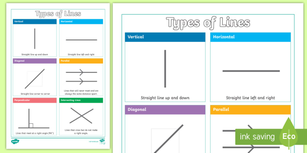 Line Drawing Ks1 : Year types of lines display poster intersecting