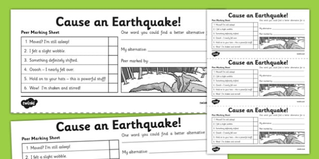 Peer Marking Sheet Cause an Earthquake - children, each other, effects, affects, natural disaster, seismic, plates, negative, damage, danger, ks2, key stage 2, shake