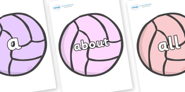 100 High Frequency Words on Balls - High frequency words, hfw, DfES Letters and Sounds, Letters and Sounds, display words