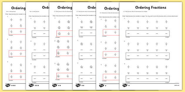 Year 5 Ordering Fractions Worksheet / Activity Sheet - year 5