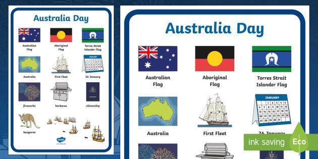 Australia Day Vocabulary Poster Mat - australia, vocabulary, mat