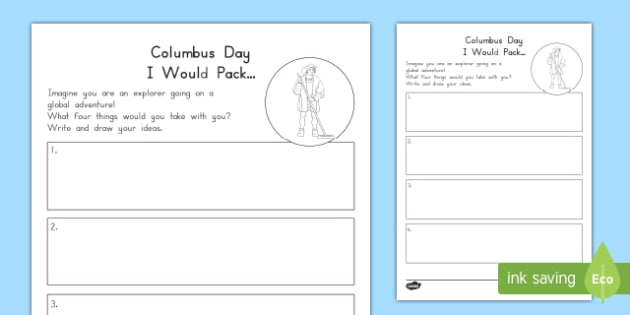 Columbus Day I Would Pack Worksheet / Activity Sheet, worksheet