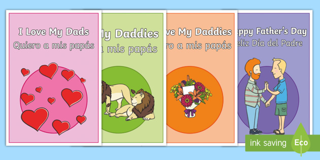 Happy Father's Day Daddies Greetings Cards English/Spanish