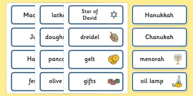 Hanukkah Word Cards Religion Faith Word Cards Flashcards