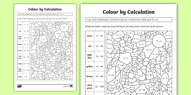 Easter-Themed Colour By Calculation Maths Worksheet