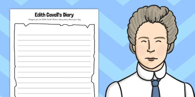 Edith Cavells Diary Activity Sheet - edith cavell, diary activity, worksheet