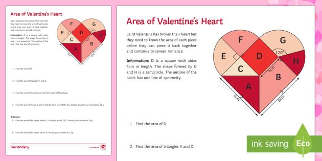 Area of valentines heart worksheet activity sheet maths area of valentines heart worksheet activity sheet maths area valentine tangram ccuart Gallery