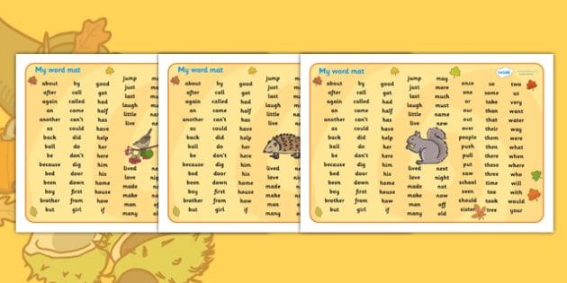 Autumn Themed KS1 Word Mat - autumn, KS1, word mat, autumn themed word mat, KS1 word mat, autumn word mat, autumn KS1 mat, mat of words, autumn mat