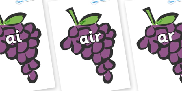 Phase 3 Phonemes on Grapes - Phonemes, phoneme, Phase 3, Phase three, Foundation, Literacy, Letters and Sounds, DfES, display
