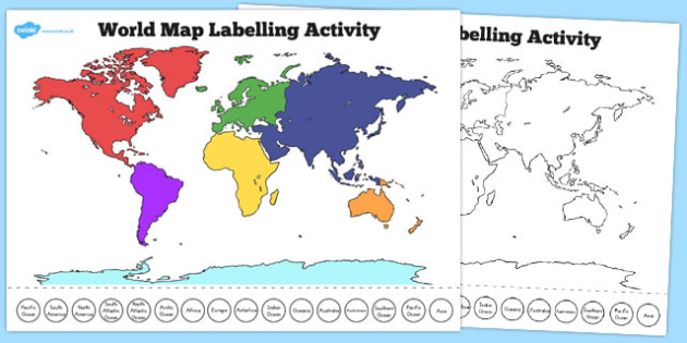 World Map Labelling Activity - Country, Geography, Map, Labelling