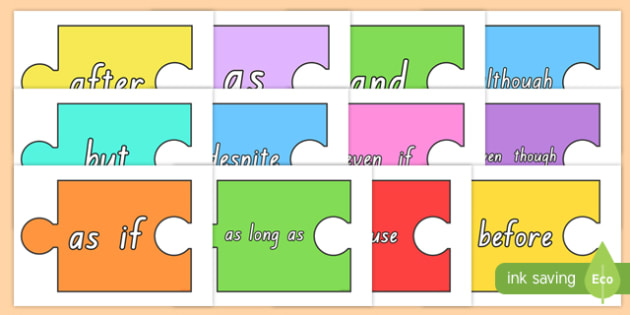 Conjunctions On Jigsaw Pieces Display Cut Outs