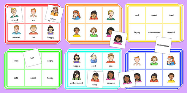 feelings bingo feelings bingo activity game class play