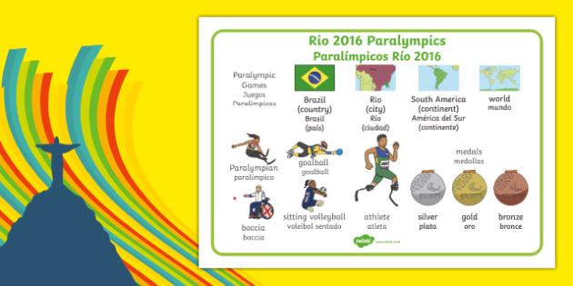 Rio Paralympics 2016 SEN Word Mat Spanish Translation - spanish, Paralympics, Rio 2016, Brazil, Word Mat, Key words, Key vocabulary, Literacy, English, Special Educational Needs, Language development, Disability Awareness