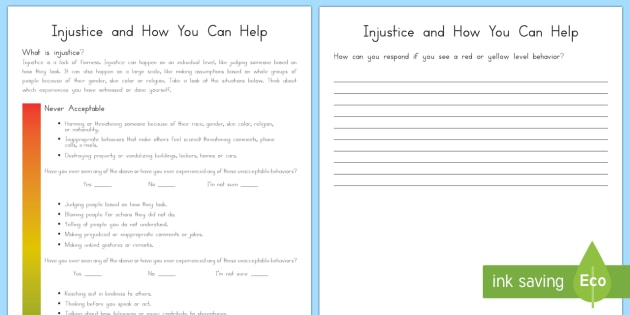 Injustice and How You Can Help Worksheet / Activity Sheet - Injustice, kindness, fairness, justice, relationships, friendships, acceptance, tolerance