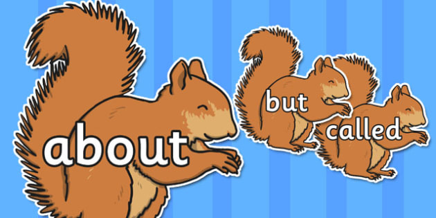 100 High Frequency Words on Red Squirrels - High frequency words, hfw, DfES Letters and Sounds, Letters and Sounds, display words