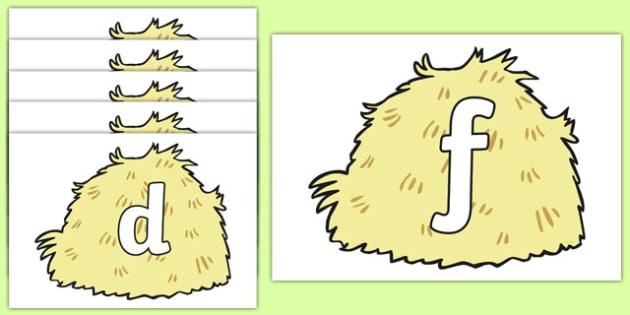 Phase 2 Phonemes on Hay Bales - phase 2, phonemes, hay bales, images, display