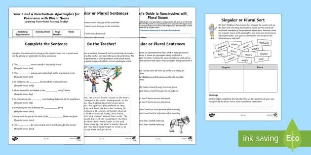 Year 3 and 4: Apostrophes for Possession with Plural Nouns Activity Booklet