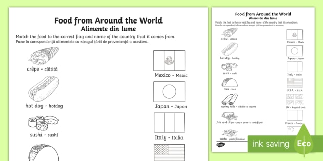 Food from around the world matching worksheet activity sheet food from around the world matching worksheet activity sheet englishromanian food ibookread Download