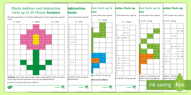 new ks1 plants addition and subtraction facts up to 20 maths mosaic. Black Bedroom Furniture Sets. Home Design Ideas