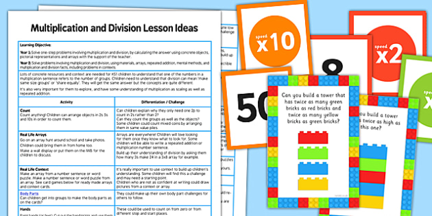 KS1 Multiplication and Division Lesson Ideas Pack - multiplication, division, lesson, ideas, pack
