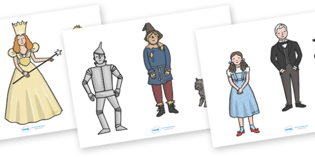 Wizard of Oz Stick Puppets - Wizard of Oz, Oz, Dorothy, yellow brick road, wicket witch, story, story book, story sequencing, story resources, stick puppet, Emerald City, Toto, the good witch, munchkin, tin man