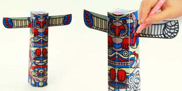 3D Totem Pole Paper Model Activity - 3d, totem, pole, model